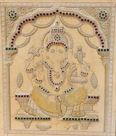 Items similar to Ganesha Muck board kit on Etsy Mysore Painting, Kerala Mural Painting, Tanjore Painting, Dot Art Painting, Kalamkari Painting, Indian Paintings, Your Paintings, Jr Art, Ganesha Painting