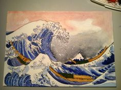 The great wave of Kanagawa painted by me.