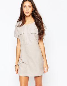 Influence Grey Suedette Pocket Shift Dress