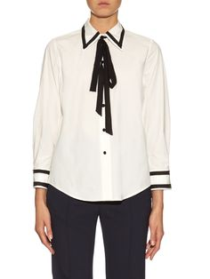 Tie-neck cotton-blend poplin shirt  | Marc Jacobs | MATCHESFASHION.COM