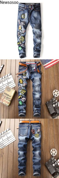 European American Style 2018 Men casual denim trousers cotton luxury famous brand jeans Straight slim zipper white jeans for men