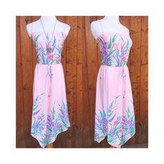Tropical Summer Sundress Dress Vintage 80's 1980's Festival Floral Pastel Pink Hawaiian Asymmetrical Hem Size Medium Large