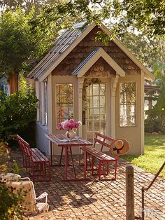 For a narrow patio, a long and narrow table with a pair of benches may save space without sacrificing valuable seating. This rustic, reclaimed table with matching benches sits up to six as is; eight with chairs pulled up to the ends.