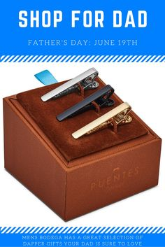 Mens Bodega has a wonderful selection of gifts that are perfect for Father's Day. With a superb collection of tie clips, lapel pins, pocket squares, ties, and more, all of our products are gift-ready as they come in a great gift box. We carry great brands such as Puentes Denver, Hook & Albert, Ox & Bull Trading Company, and Wurkin Stiffs. Check out our store for great gifts ideas that are perfect for Dad or Grandpa.