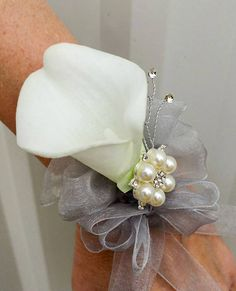 Wrist corsage  White calla lily wrist corsage Wedding