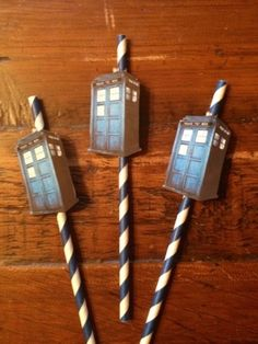 Cool straws at a Dr. Who birthday party! See more party ideas at CatchMyParty!