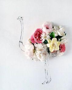 ダチョウの体部分を様々なお花で表現したアート。想像を掻き立てられ、とってもかわいい。