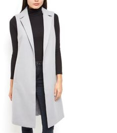 7ca5f3efa944fd New Look Grey Longline Sleeveless Coat