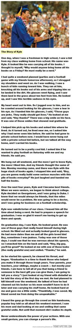 ♥AMAZING STORY!!!!! ....you may NEVER truly know what impact you could be having on someones life...