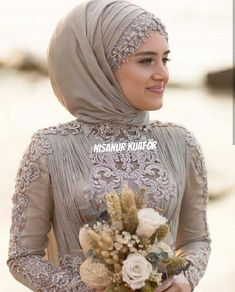 Hijab is elegant Muslim outerwear that will add breathtaking charm on your modern wearing. Hijab can Muslim Wedding Gown, Muslim Wedding Dresses, Muslim Brides, Wedding Hijab, Bridal Dresses, Muslimah Wedding, Hijab Style Dress, Bridal Hijab, Arabic Dress