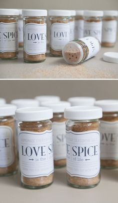 DIY wedding ~ homemade seasoning salt or 'love spice' wedding favor jars! So cute and so easy! FREE printables!