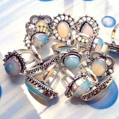 Wholesale Lot 20 Pcs OPALITE Gemstone 925 Sterling Silver Plated Jewelry Rings N #Gajrajgems92_9 #Rings
