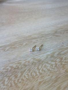 14k Diamond Square Stud Earrings, Tiny Stud Earrings, Dainty Earrings, Petite Earrings, Mini Studs, 14k Gold Studs, Diamond Stud Earrings by MilestonesByABC on Etsy