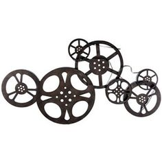 """Large 34"""" Antique Bronze Metal Movie Reel Wall Art Theater Movie Room Wall Decor"""