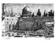Wailing Wall Jerusalem - drawings and paintings by Stephen Wiltshire MBE