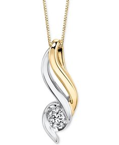 A shimmering round-shape diamond sits at the bottom of a heavenly two-tone swirl in this enchanting pendant necklace (1/5 ct. t.w.) designed by Sirena in 14k gold and white gold. Approximate length: 1