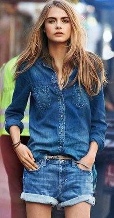 DKNY Jeans Spring 2013 - Rock out like girl of the moment Cara Delevigne in DKNY Double Denim - great interchangeable pieces for the rest of your festival wardrobe