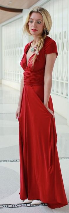 Nuova Vita Red Jersey Prom Dress by Bird a la mode
