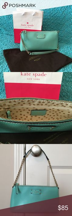 🎀🎀KATE SPADE PURSE 🎉🎉NWOT KATE SPADE ROBIN EGG BLUE SHOULDER PURSE, Handle has gold chain, Zip closure on top, 2 open pockets and 1 zip pocket on inside, Very cute polka dot fabric on the inside. I took tags off but never used it.🎉🎉 kate spade Bags Shoulder Bags