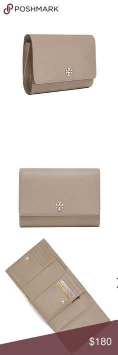 "TORY BURCH Robinson Medium Flap Wallet French Gray Brand new never worn. Perfect condition. No box or dust bag. Color: French Gray.  Pin snap closure 2 exterior slit pockets 8 interior credit card slots, 3 slit pockets, 1 bill compartment, 1 zipper pocket Length: approx 5.58""  Height: approx 3.98"" Tory Burch Accessories Watches"