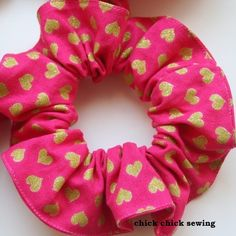 "Hair scrunchie - top stitched outer edge, 1/4"" wide braided elastic inside"