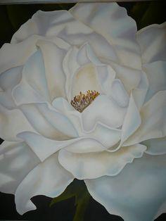 Oleo.Rosa blanca. Mertxe.L.