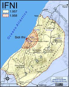 El territorio de Ifni antes y después de la guerra de 1957-1958. Morocco Travel, Historical Maps, North Africa, Middle East, Battle, Vintage, War, Spanish Colonial, Old Maps
