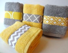 Set of 4 Yellow and Grey Bath Towels yellow and grey by AugustAve
