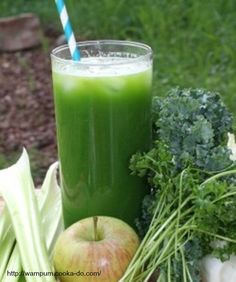 Kale and Apple Juice 2 green apples, halved1 stalks celery1 cucumber6 kale leaves1/2 lemon, peeled1 (1 inch) piece fresh ginger DirectionsProcess green apples, celery, cucumber, kale, lemon, and ginger through a juicer.