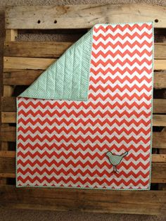 Coral and Mint Little Birdie Chevron Quilt by Nooches on Etsy