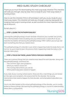 Opt In Freebie: Med-Surg Study Checklist – Nursing School of Success - Modern Nursing School Scholarships, Nursing School Notes, Best Nursing Schools, Nursing Students, Medical School, Nursing Study Tips, Med Surg Nursing, Nursing Exam, Lpn Schools