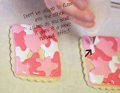 How to make camo print cookies from Sweet Sugar Belles
