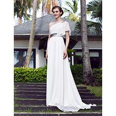 vestido de novia de raso una línea de un hombro barrer / cepillo tren del georgette y estiramiento (722836) – USD $ 127.99