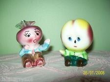 Vintage Anthropomorphic Figural PEACH/RADISH Head Salt & Pepper Shakers SET