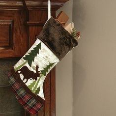 moose stocking furry cuff moose scene and plaid sole 10 14 - Moose Christmas Stocking