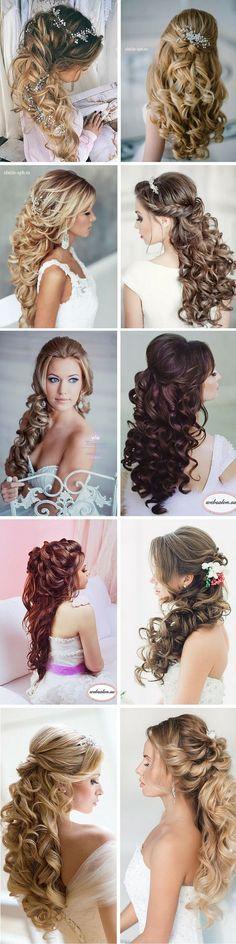 elegant curly half up half down wedding hairstyles / http://www.himisspuff.com/bridal-wedding-hairstyles-for-long-hair/31/