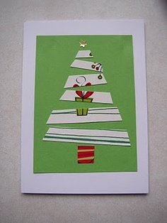 Christmas Card, tree made from old cards! Love this idea.