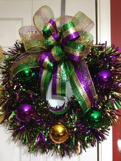 Mardi Gras Wreath by WreathsbyLaura on Etsy