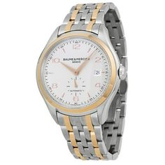 Baume and Mercier Clifton Silver Dial Two-tone Stainless Steel Mens Watch 10140