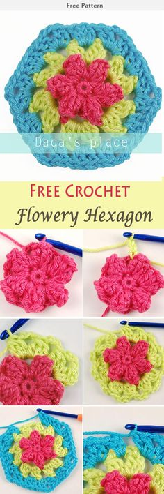 Flowery Hexagon Free Crochet Pattern