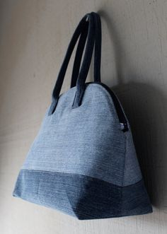 Denim Doctor Handbag with Interior Pocket and Lined with a Blue Printed Vintage Paris Inspired Cotton Fabric by AllintheJeans on Etsy