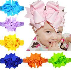 10pcs options Baby Girls Satin Ribbon Flower Headbands 20cm children hair bow hairpin hair band Christ Headbands 2016new