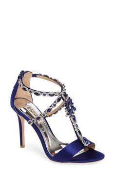 Badgley Mischka Georgia Crystal Embellished T-Strap Sandal (Women)