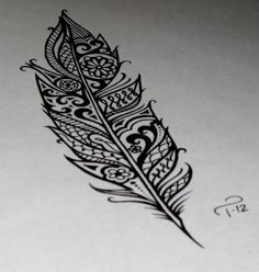 feather tattoo design - i love the details!