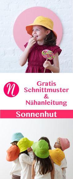 Nähe einen einfachen Sonnenhut für Kinder von 6 Monaten bis 8 Jahre - Freebook ❤️ DIY - selber nähen ✂️ Nähtalente.de - Magazin für kostenlose Schnittmuster ✂️ Free sewing pattern a reversible bucket hat.
