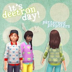 Patterned Preppy Child's Sweater Top Sims 4 Maxis Match CC