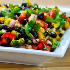 Black Bean and Pepper Salad with Cilantro and Lime; I make this healthy salad with lots of red, yellow, and green peppers and just a few black beans.  (Gluten-Free, Vegan) [from KalynsKitchen.com]