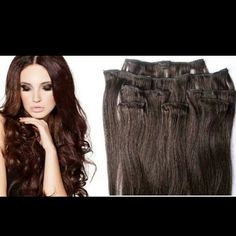 100% Human Hair Extensions Clip In-Brunette