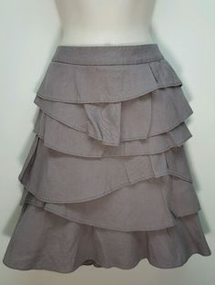 Mossimo mauve gray tiered ruffle work career linen blend skirt womens size 2 W28 #Mossimo #Tiered