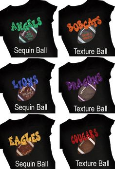 Items similar to Custom FOOTBALL Sequin Applique Spirit Shirt.Personalize With Team and Message on Etsy Football Spirit, Football Cheer, Vikings Football, Custom Football, Basketball Mom, Football And Basketball, Football Boots, Football Season, Football Players